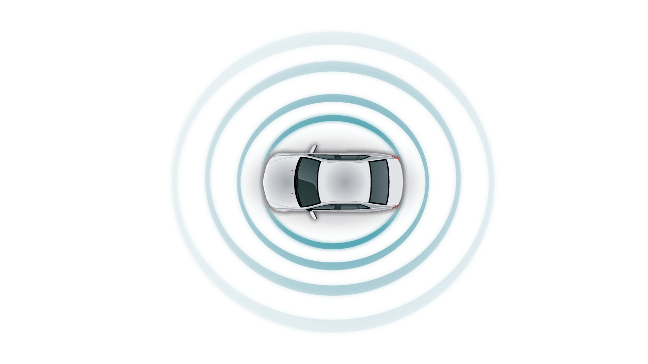 automotive white car top view  teal sensor fusion circle