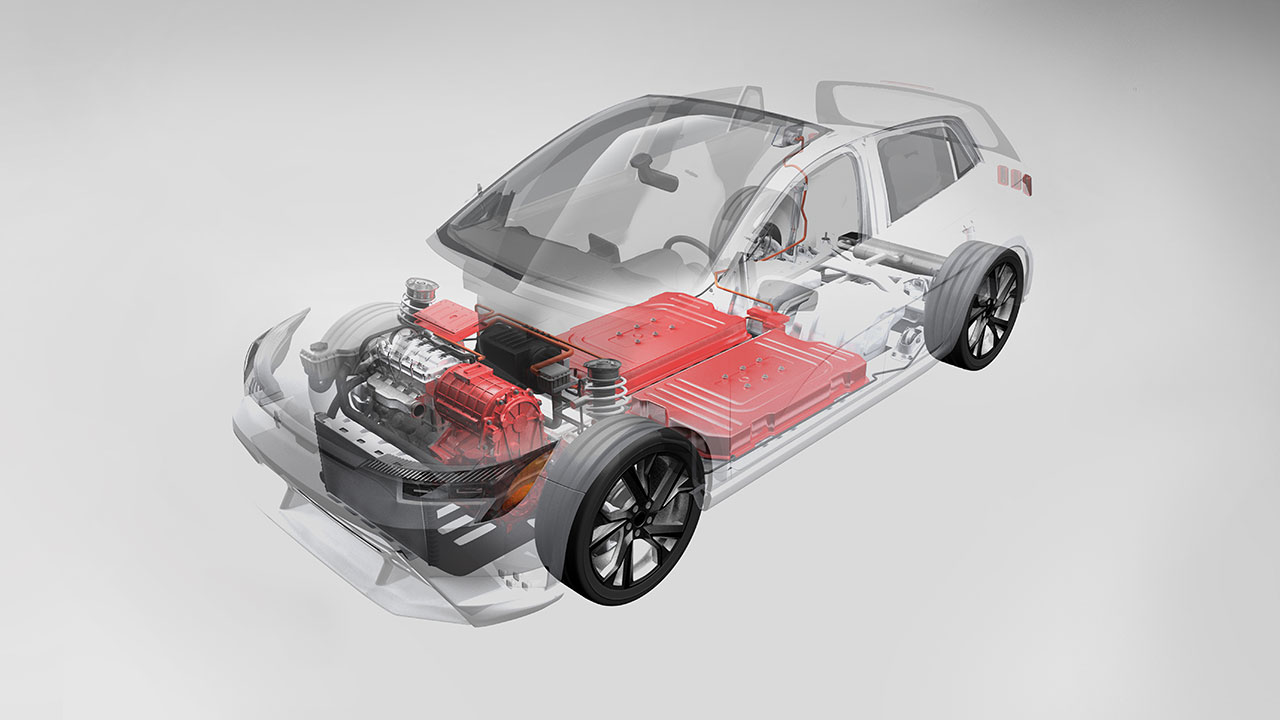 Electric vehicle EV 48 V powertrain 3D illustration