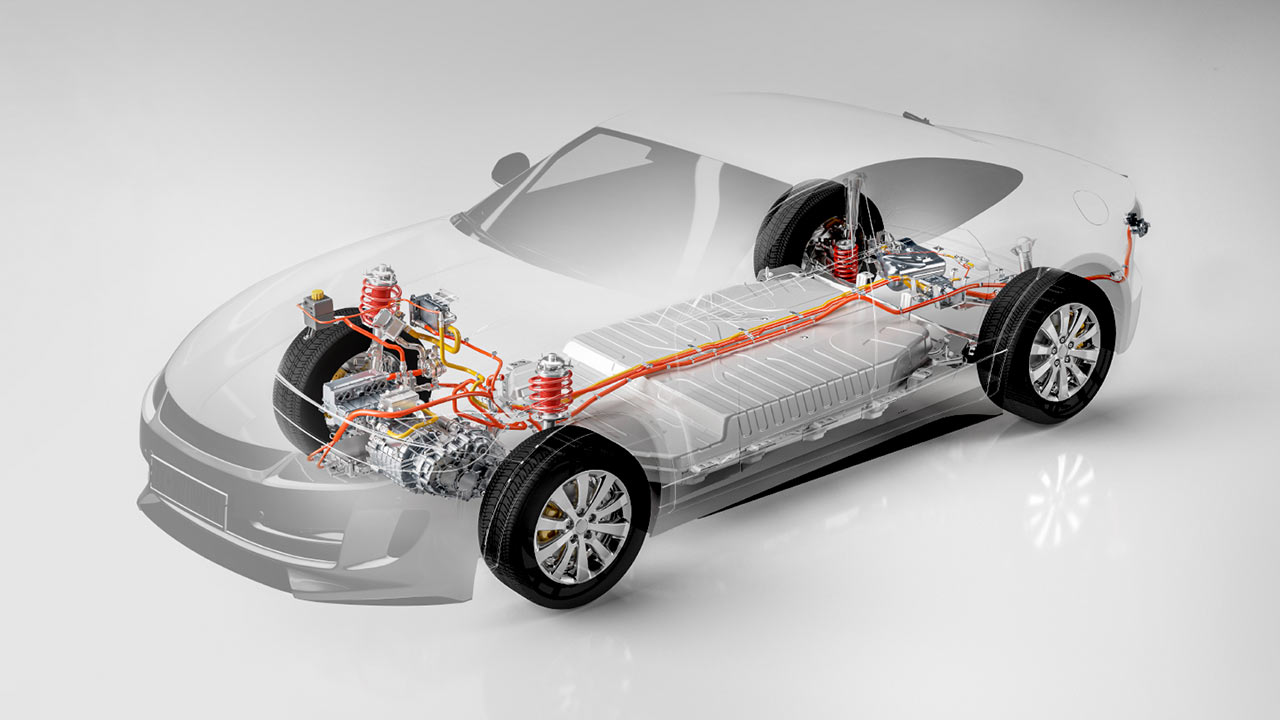 ComboBox eletric vehicle EV powertrain 3D illustration