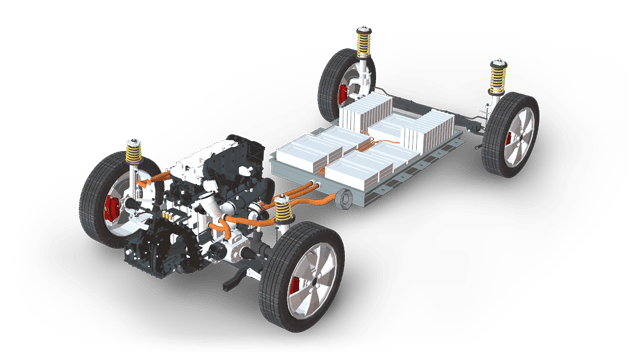 automotive chassis with engine and powertrain sensor module