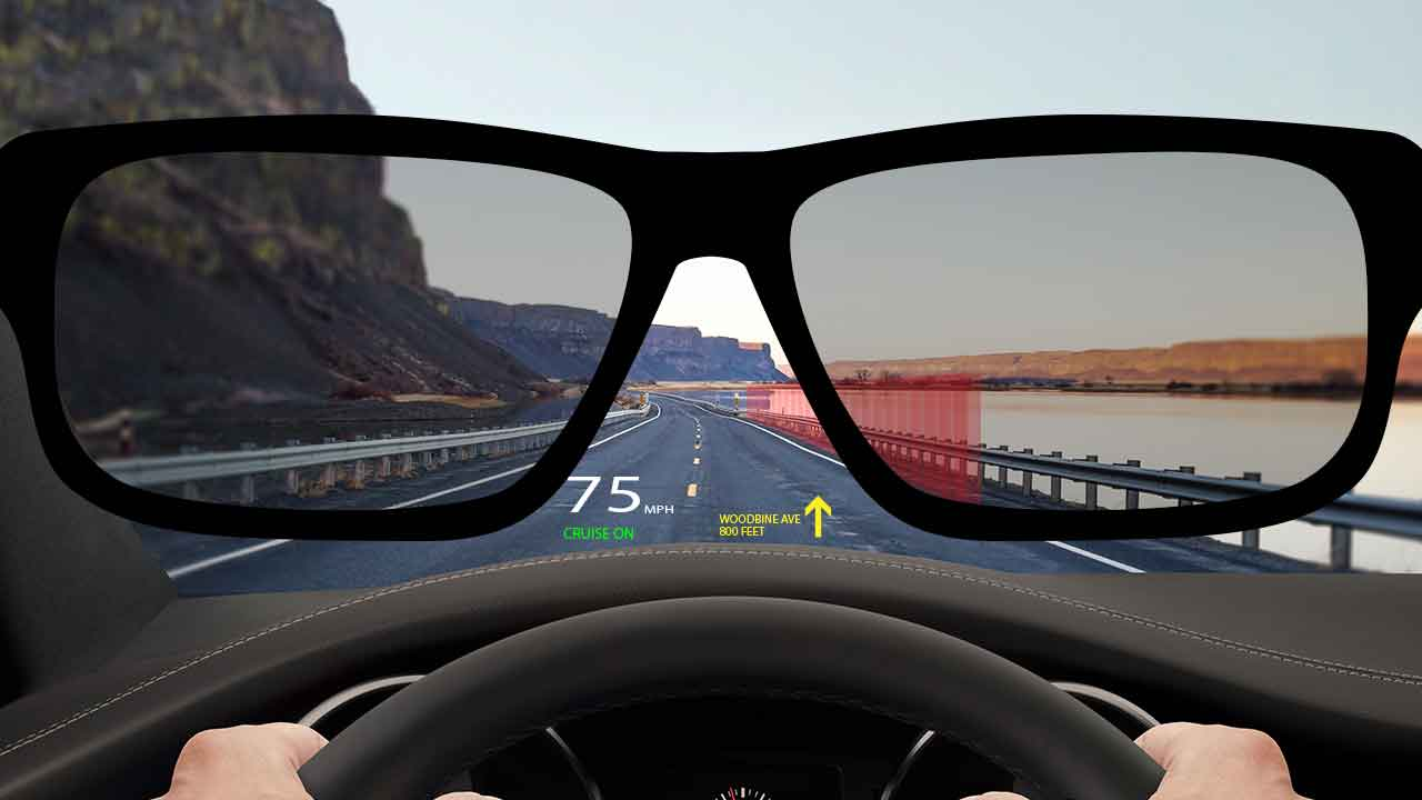 Head-up display (HUD) polarized sunglasses