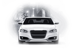 automotive white car sedan front view city background