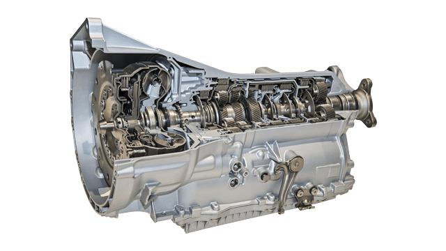 silver automotive transmission cutaway for powertrain systems