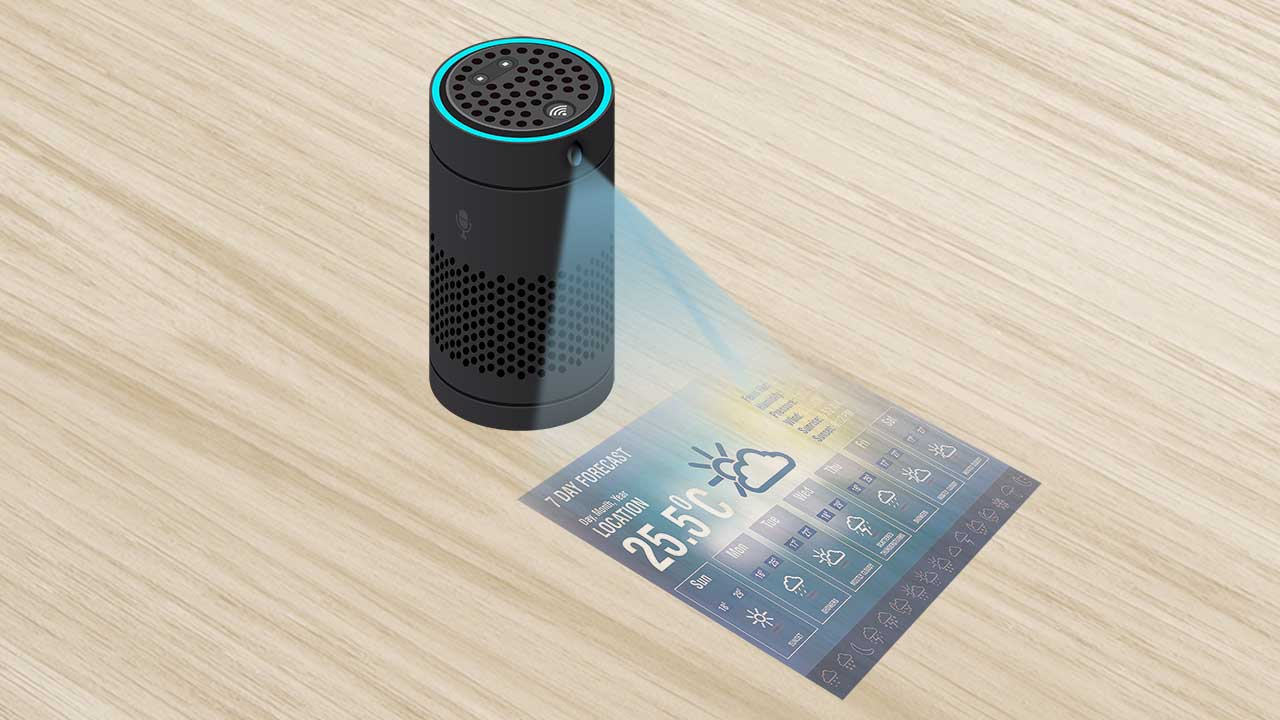 Smart speaker with display projection