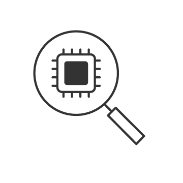 Magnifying glass over integrated circuit