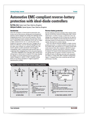 Automotive EMC-compliant reverse-battery protection with ideal-diode controllers