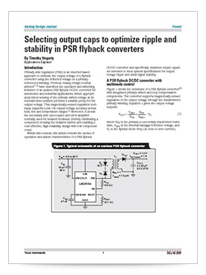 Selecting output caps to optimize ripple and stability in PSR flyback converters