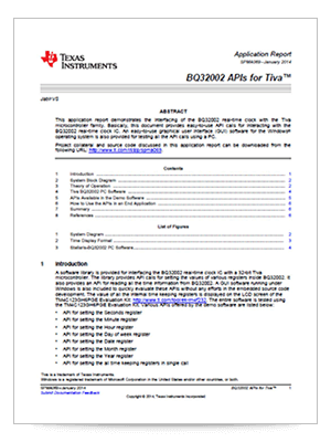 Cover page of the BQ32002 APIs for Tiva application report