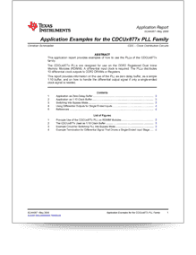 Application Examples for CDCUx877xPLL