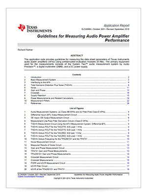 Guidelines for Measuring Audio Power Amplifier Performance