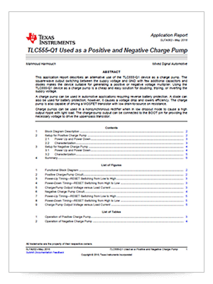 Cover page of the TLC555-Q1 used as a positive and negative charge pump application report