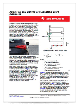 Cover page of the automotive LED lighting with adjustable shunt references tech note