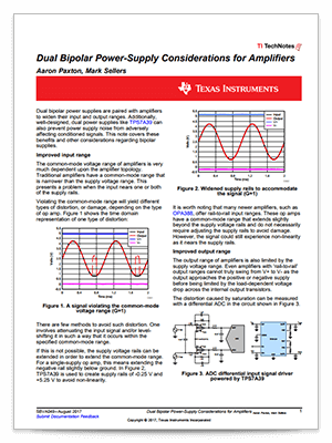 Dual bipolar power supply considerations for amplifiers