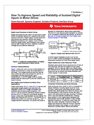 How to improve speed and reliability of isolated digital inputs in motor drives PDF cover page