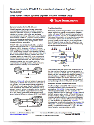Cover page of how to isolate RS-485 for smallest size and highest reliability tech note