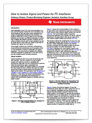 How to isolate signal and power for I2C interfaces PDF cover page