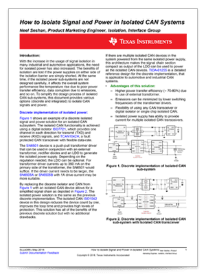Cover page for the how to isolate signal and power in isolated CAN systems tech note