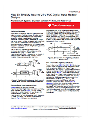 How to simplify isolated 24-V PLC digital input module designs PDF cover page