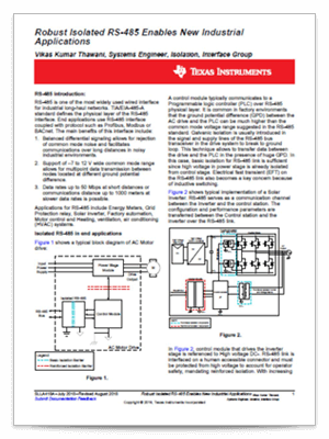 Robust isolated RS-485 enables new industrial applications PDF cover page