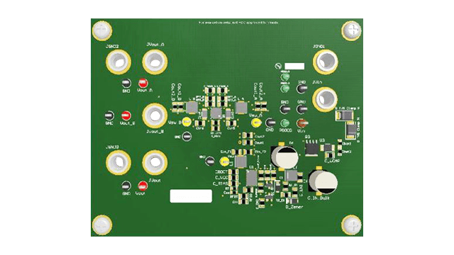 Space optimized wide VIN triple-output power module reference design top of board