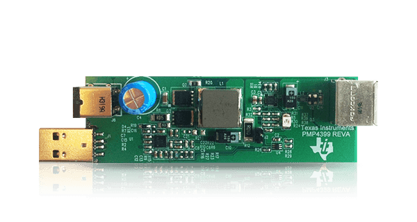Current sensing automotice USB charger with linear droop compensation reference design power monitor
