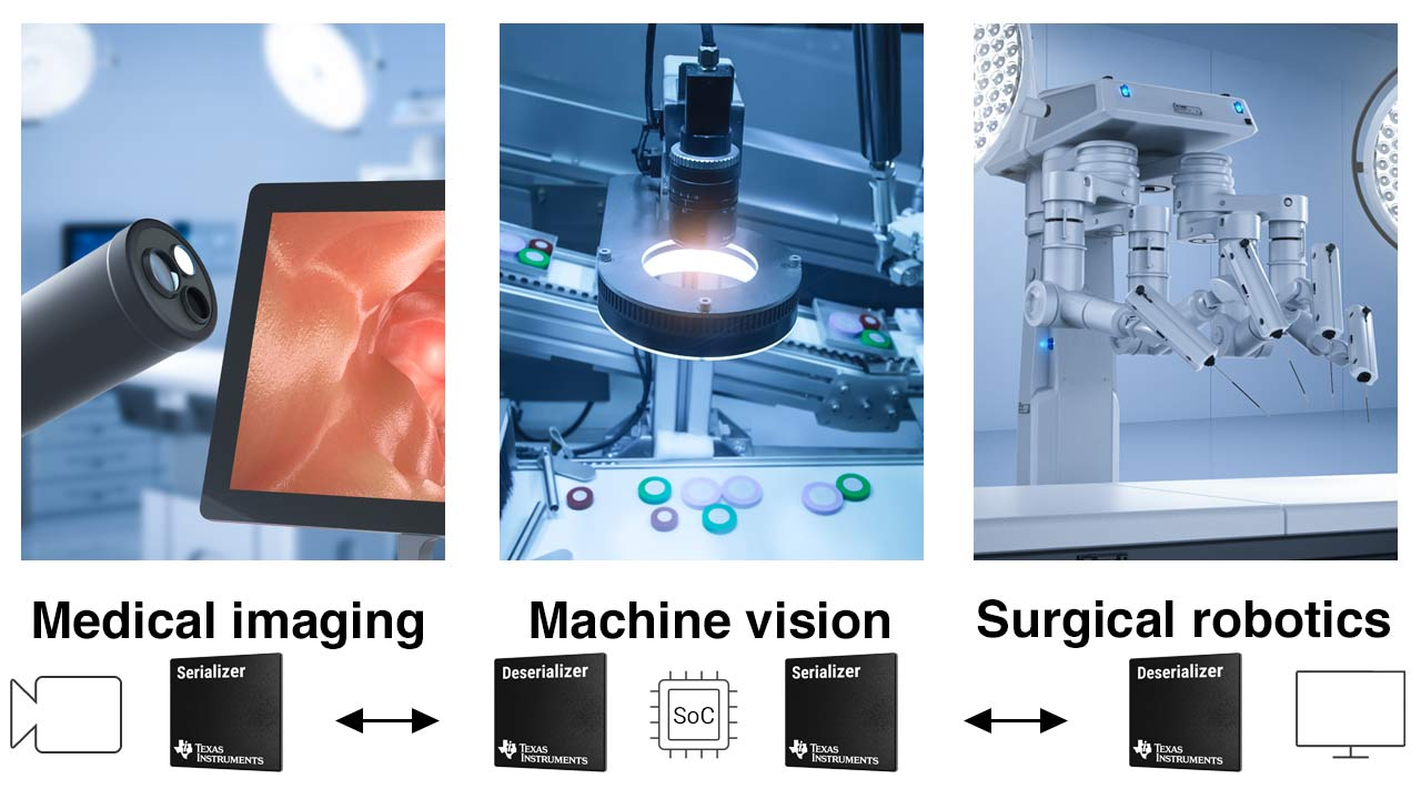 A diagram shows how V3 Link devices function in endoscopes, machine vision and robotic-assisted surgery applications.