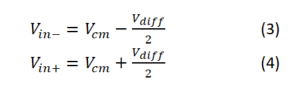 Equations 3, 4: instrumentation amplifier input voltages equation