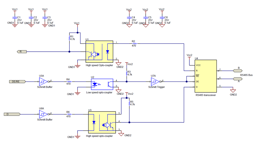 An isolated RS-485 design using optocouplers