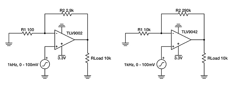 Schematic circuits showing comparison between typical op-amp design and a low-power op amp design