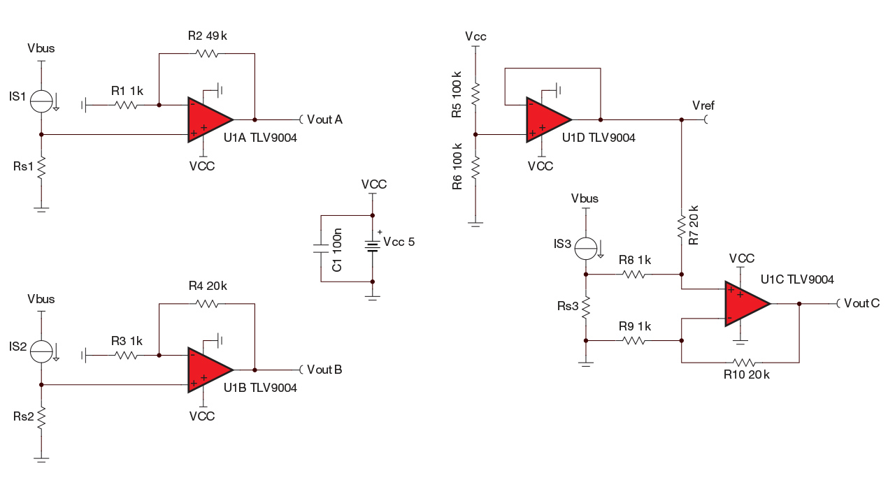 Using Quad Op Amps To Sense Multiple Currents Analog