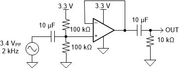 AC-coupled, unity gain audio amplifier schematic example