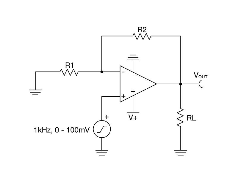 Circuit diagram of noninverting amplifier configuration