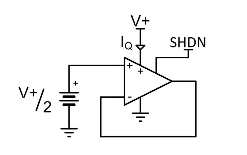 A circuit shows the TLV9042S device in a unity gain buffer configuration. The input is tied to mid supply and the output is left without a load.