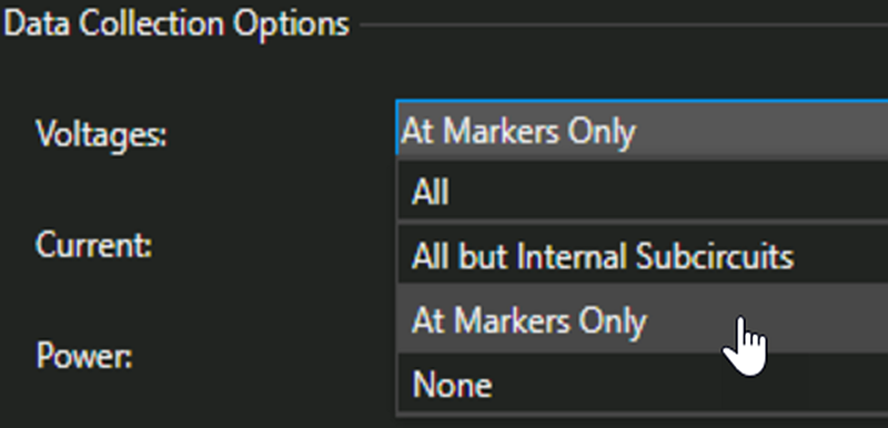 The Data Collection Options window shows that you can select options for Voltages: All, All but Internal Subcircuits, At Markers Only, or None.