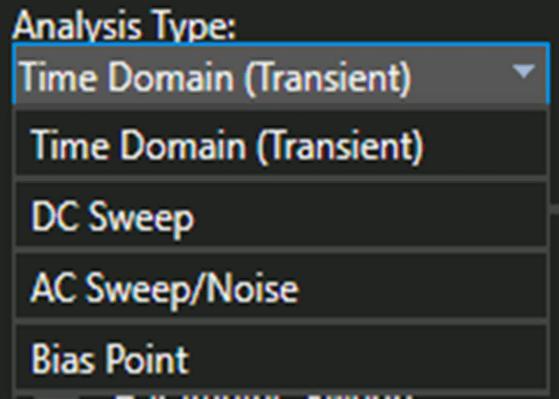 A screenshot of the Analysis Type window shows that the user can select Time Domain (Transient), DC Sweep, AC Sweep/Noise or Bias Point options.