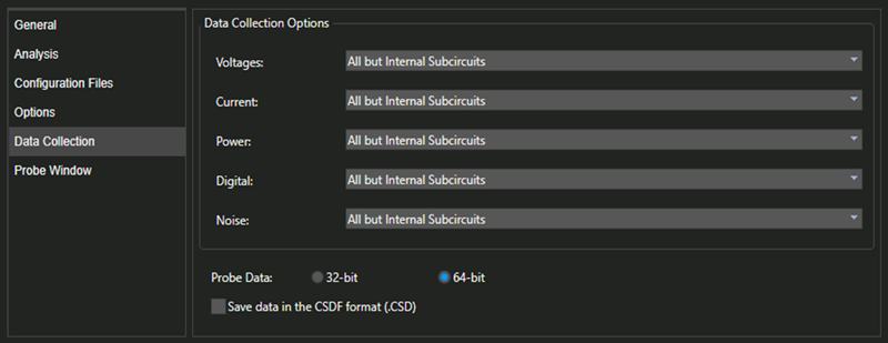 The Data Collection tab of the Simulation Settings window presents various options under Voltages, Current, Power, Digital and Noise categories.