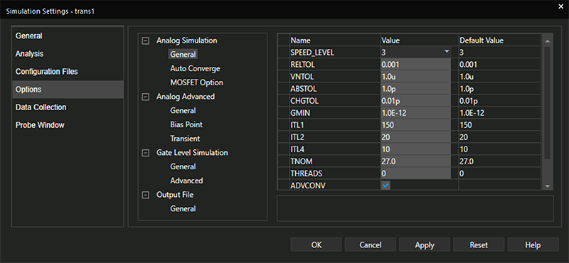 A screenshot of the Simulation Settings window in PSpice for TI shows that Options returns various options to customize simulations. Options are given under the Analog Simulation, Analog Advanced, Gate Level Simulation and Output File categories.