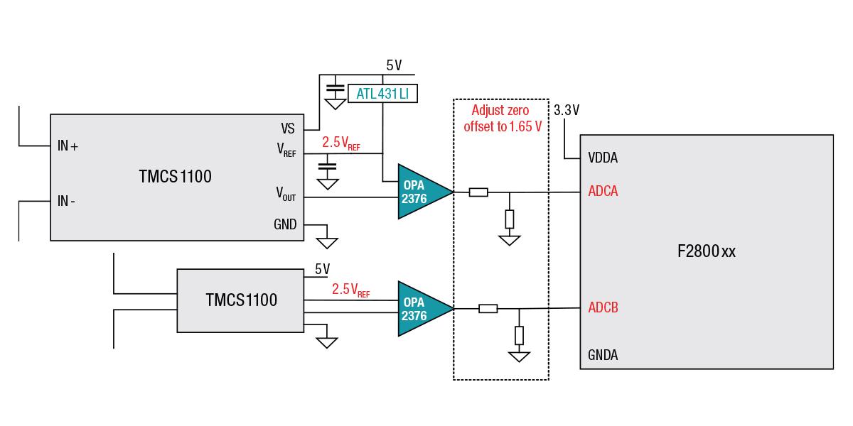 Figure 1: 5 V powering the Hall-effect current sensor