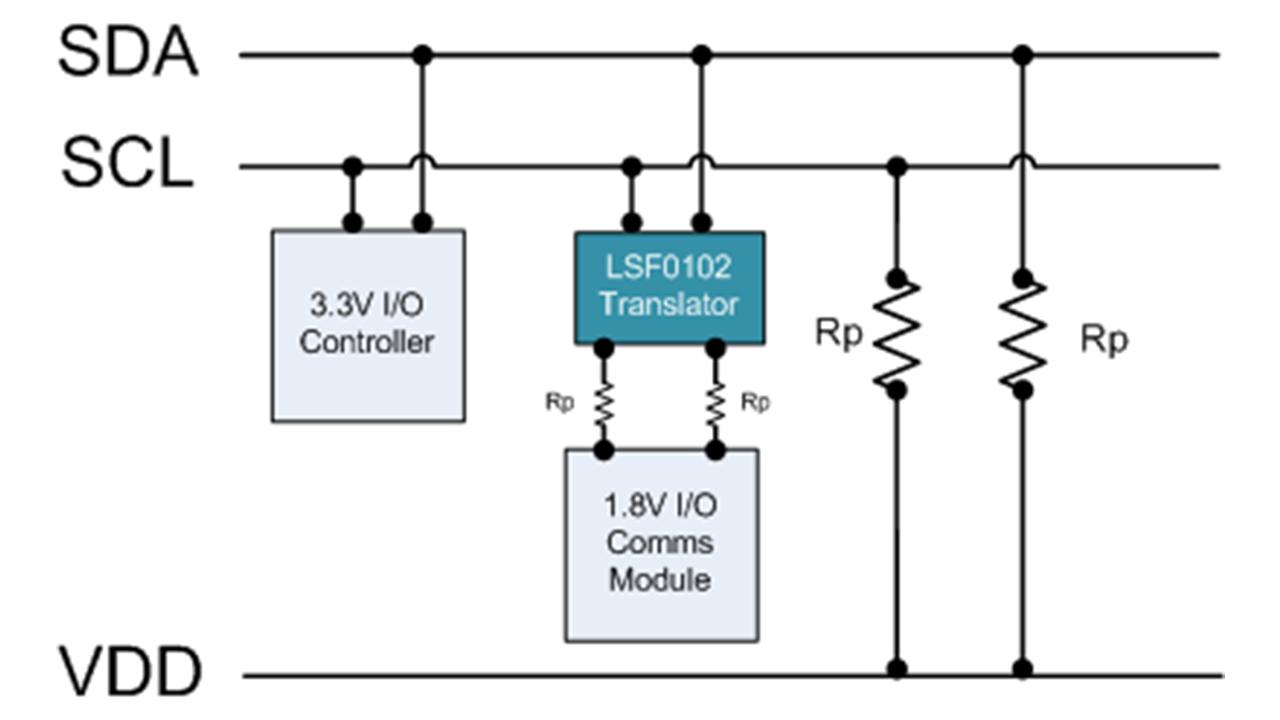 I2C-control-bus-level-translation-example-using-LSF0102
