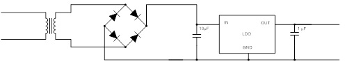 Simplified AC to DC conversion using a transformer and LDO