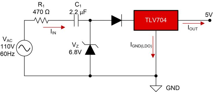 Basic capacitive dropper circuit with an LDO for 110 VAC, 5 VDC and 30 mA
