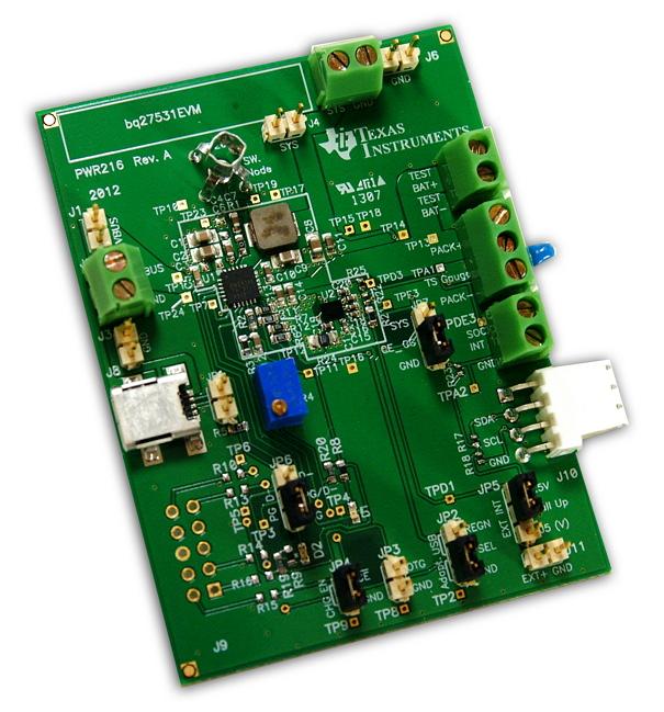 BQ27531EVM-Battery Management Unit Impedance Track Fuel (Gas) Gauge Charger Controller Evaluation Module - TI store image