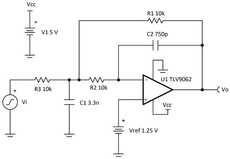 Filter low pass single supply First Order