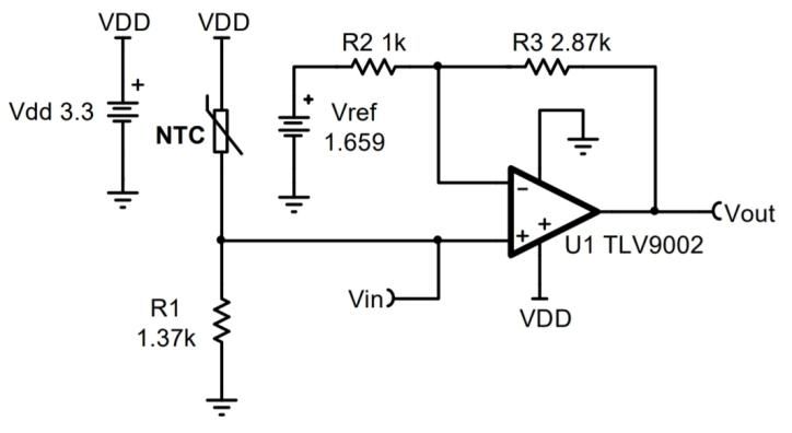 使用NTC热敏电阻的CIRCUIT060002温度感测电路图
