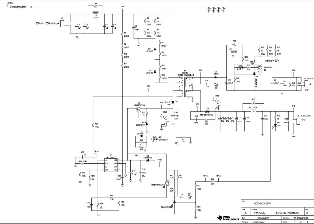 pmp5725 high voltage flyback with two outputs  25v   0 5a