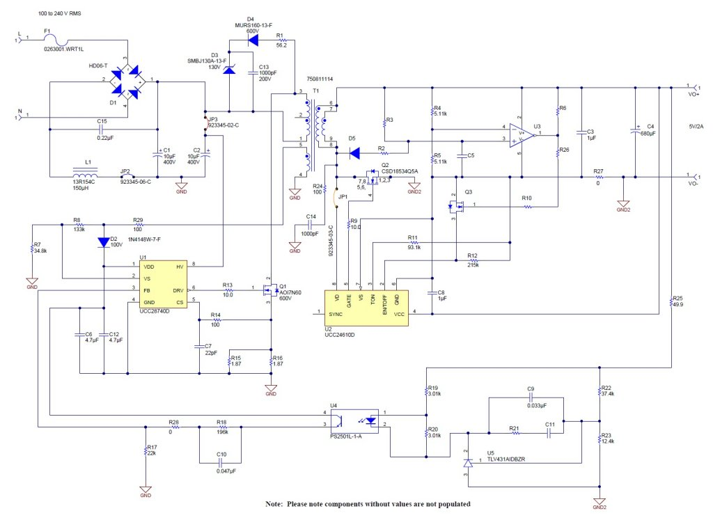 Pmp8965 5v  2 5a Ac  Dc Flyback Psu For Usb Adaptor
