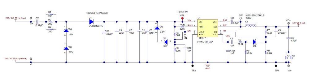 PMP9310 是可提供 3.3VDC 输出(最大 132mA)的离线式转换器。该转换器用于 50Hz 单相智能电表,可对最大的允许输入视在功率进行调节(通常为 4VA),无需进行电隔离。该转换器解决了在线性调节输出阶段中常见的有限可用输出功率问题。通过采用宽输入 LM5017 降压开关,电容压降设计将直流/直流阶段的输入设置为 72V 的高值,并以给定的输入视在功率从电源中提取更大的功率。额外的可用输出功率支持可整合额外功能的系统设计。