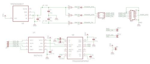 隔离式 rs-232 到 uart 转换器的参考设计