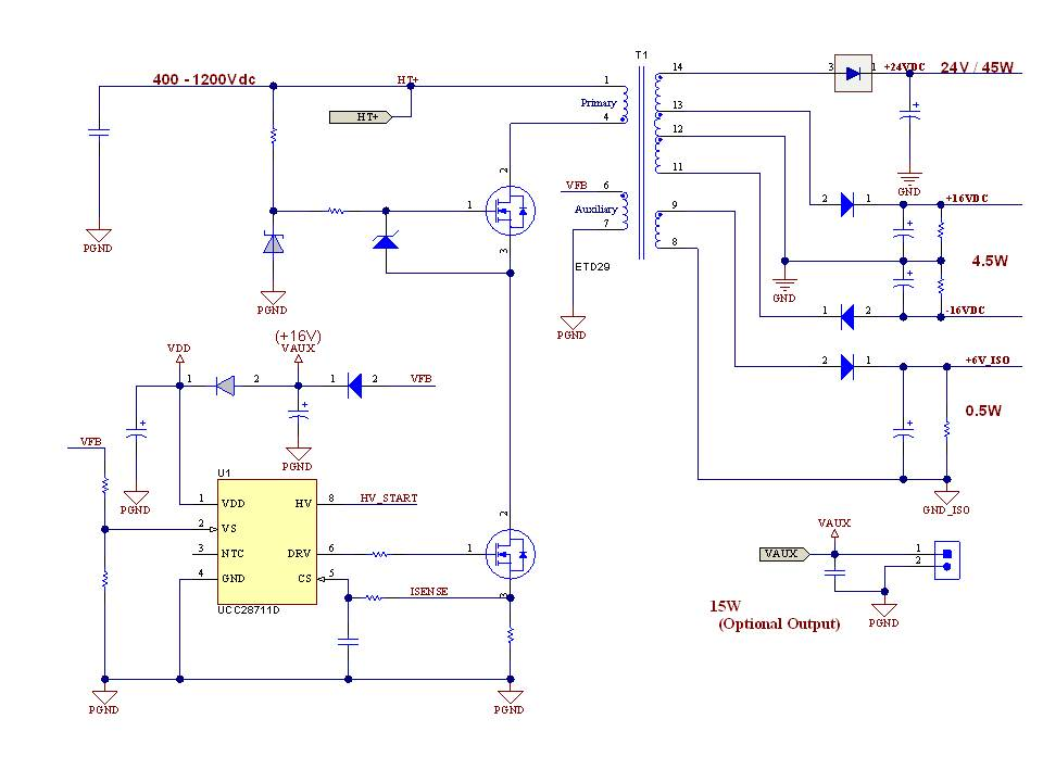 TIDA00173 400V to 690V AC Input  50W Flyback Isolated Power Supply Reference Design for