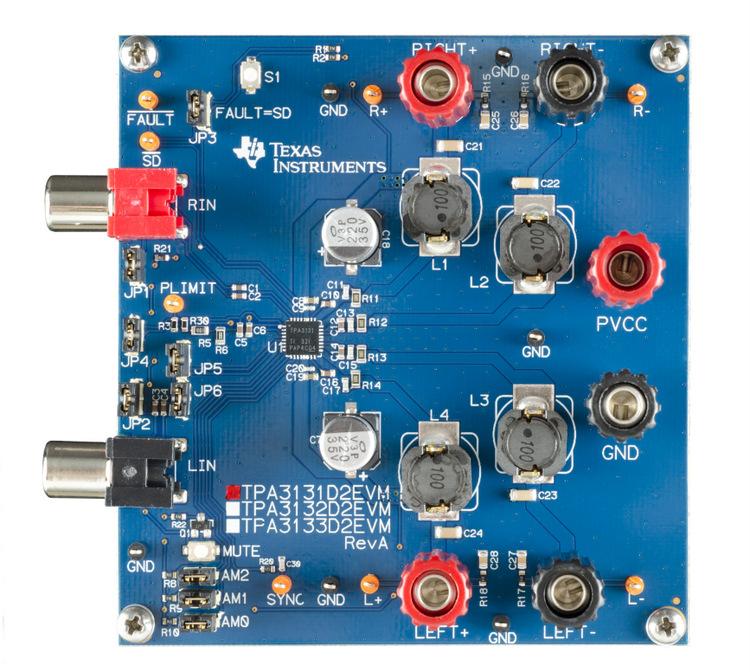 TPA3131D2EVM-TPA3131D2EVM for 7W Class D Speaker Amplifier IC - TI store image